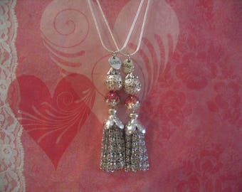 Two Pink Beaded Tassel Necklaces Jewelry Gift