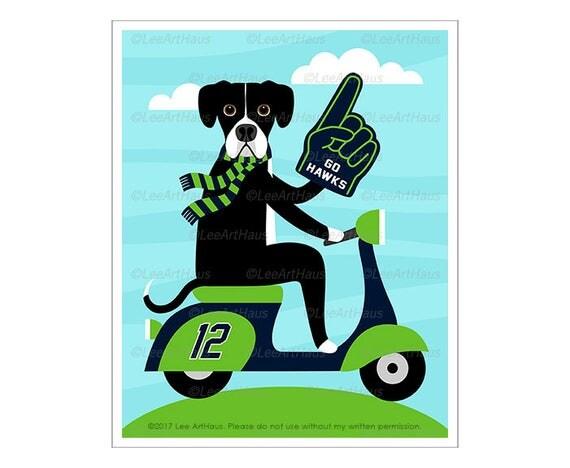 342D Dog Print - Seattle Seahawks Great Dane on Vespa Wall Art - Football Dog Print - Great Dane Print - Vespa Art - Football Print