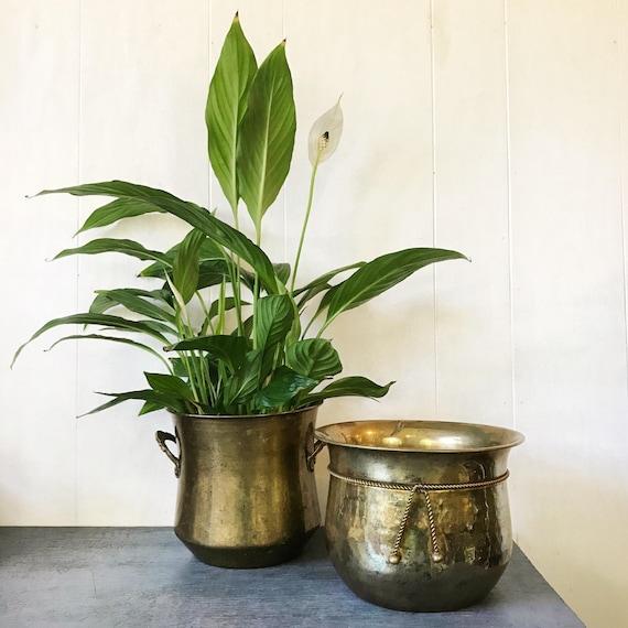 vintage brass planter - medium round metal pot - planter with handles - boho garden