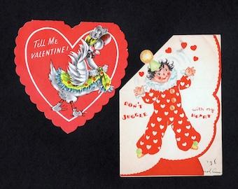 Vintage Valentines Greeting Cards - Set of 2 - One pop up card