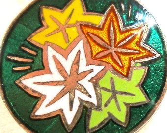 """50s Japanese Enamel Button, Autumn Leaves 5/8"""", 5 colors. Made in Japan."""