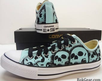 Skull shoes SALE Converse Oxfords  US Mens Size 10 - US Womens Size 12 - Unique hand painted by RokGear - Ready to Ship