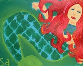 Red Haired Hand Painted Mermaid Notecard