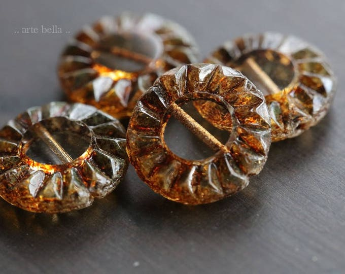 EARTHY SUNFLOWERS .. NEW 4 Picasso Czech Glass Coin Beads 14mm (6044-4)