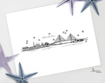Charleston, South Carolina - United States - Instant Download Printable Art - City Skyline Series