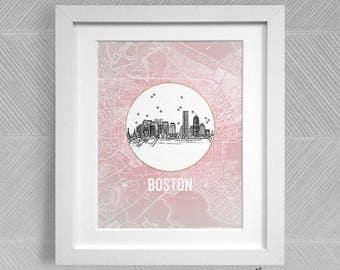 Boston, Massachusetts - United States - Instant Download Printable Art - Vintage City Skyline Map Series