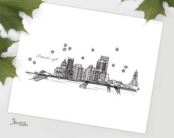 Pittsburgh, Pennsylvania - United States - Instant Download Printable Art - City Skyline Series