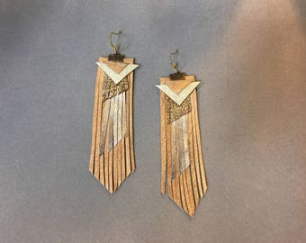 metallic gold and brown fringe leather abstract statement earrings