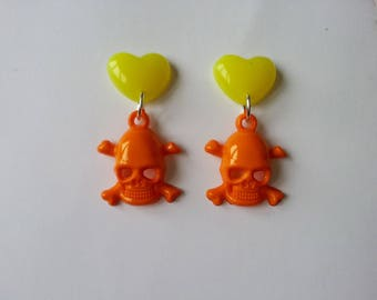 Earrings hearts and skulls ♥ ♥ yellow and orange