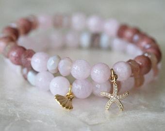 Pink Bracelet Set, Ocean Charms, Pave Jewelry, Morganite Bracelet, Pink Bracelets, Star Fish Charm, Shell Charm, Stack Bracelets, 7 Inch
