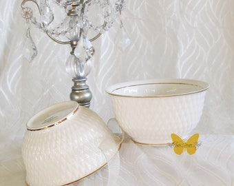 Gold Trim Bowl with 3 Dimensional Diamond Pattern