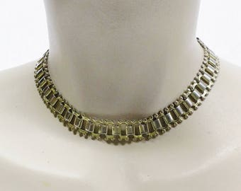 50s 60s Vintage Gold Tone Choker Collar Necklace