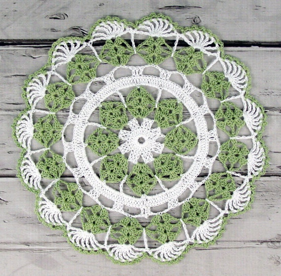Lovely Crocheted Sage Green White Doily Table Topper - 10 1/2 inches