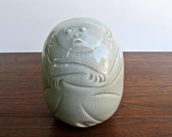 Masahiro Mori Style Studio Pottery Large Modernist Monkey Rattle in Celedon Green