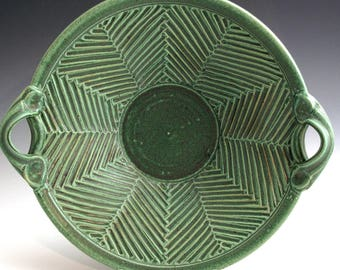 Handmade Stoneware Pottery Basket Bowl Carved Green Herringbone Bowl SHIPPING INCLUDED