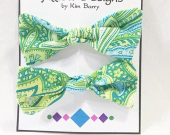 Hair Bow Clip Set -Blue and Green Paisleys-  Free Shipping in the US