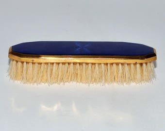 Antique German Cobalt Blue Enamel Guilloche Dresser Brush, circa 1910s - 1920s