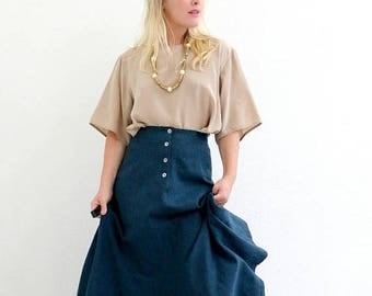 "ON SALE 1980s Prussian Button Wool Skirt /// Size Extra Small to Small /// 26"" Waist"