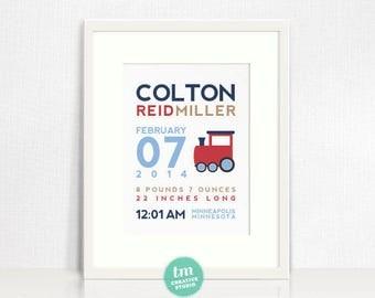 Custom Birth Announcement // Train Themed Decor // Nursery Print // Modern Birth Stat Poster // Baby Boy art // Baby Shower Gift