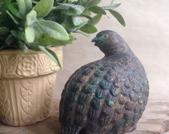 Vintage Metal Quail Figurine Bird Statuette Partridge Solid and Heavy Retro Mid Century Decor