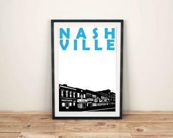 Nashville Print // Tennessee Art Print // Nashville Poster // Moving Away Gift // Nashville Art Gift // Gift for Men // Gift for Women