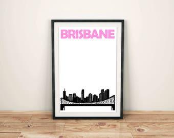 Brisbane Print // Australia Print // Travel Print // Brisbane Skyline // Brisbane Art // Brisbane Poster / Australian Gifts / Australian Art