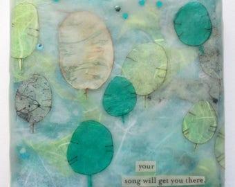Encaustic painting, money plant art, seed pod art, lunaria, teal green, mint