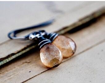 Summer Sale Quartz Earrings, Drop Earrings, Crystal Earrings, Dangle Earrings, Apricot, Peach, Gemstone Earrings, PoleStar, Sterling Silver,