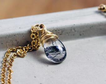 Tourmalinated Quartz Gold Necklace PoleStar Wire Wrapped Pendant