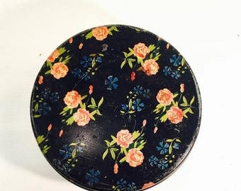 SUMMER SALE Black Vintage floral Tin Colorful Cookie Tin pink roses calico chintz