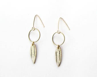 Birch bark feather and circle earrings