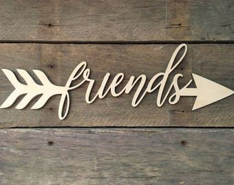 Friends Arrow Word, Wall Decor, Wall Hanging, Inspirational, Teens Room, Childs Room, Classroom