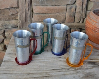 Set of 5 Vintage Aluminum Cups with Removable Colored Handles