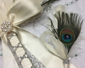 Reserved for Shannon - Peacock Feather with Ivory Accented Boutonnière
