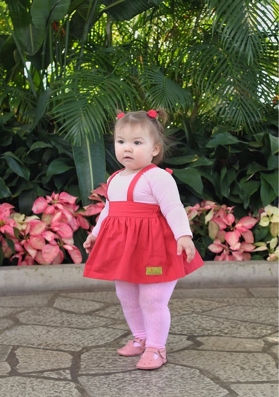 Girls Red Suspender Skirt - Valentine Suspender Skirt - Suspender Skirt