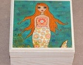 RESSERVED LISTING for Sarah Corr  Whimsical Redhead Mermaid Jewelry Box Trinket Box Gift Box