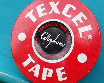 1950's Texcel Tape Metal Tin Red