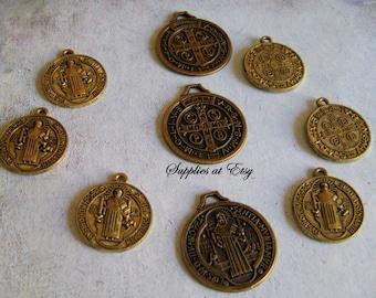 Sale 12-48 pcs Catholic Medals St Benedict antique Bronze Medal Charm-Antique Look Benedict Medals Charms-San Benito medalla dije-Spiritual