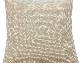 """Designer Ivory Cushion Covers, Accent Pillow For Couch, 16""""x16"""" Art Silk Pillowcase, Square All Over Pearls Pillows Cover - Pearl World"""