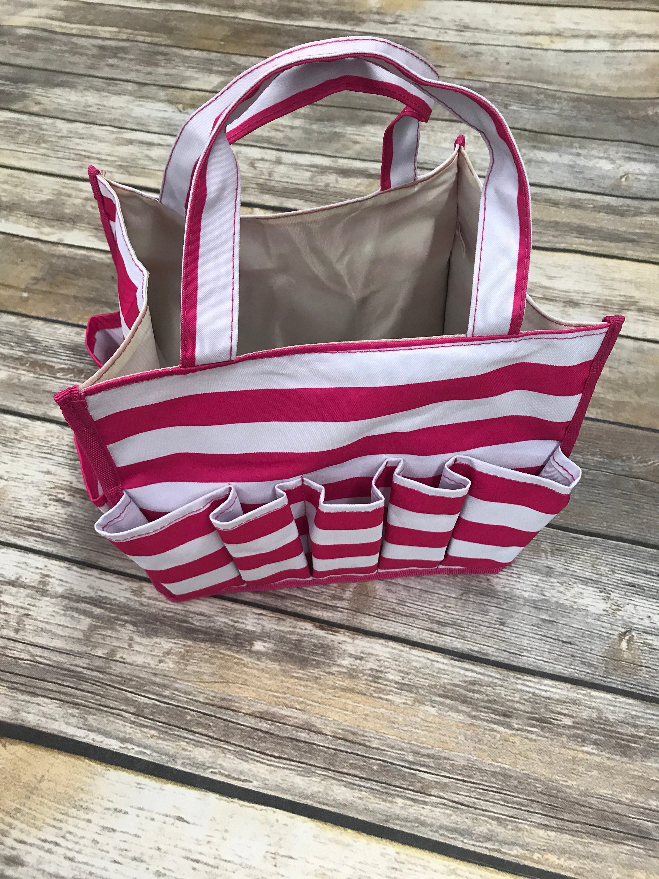 Pink Stripe Organizer Caddy-Organizer Tote-Nurse Bag-Teacher Bag-Toy ...