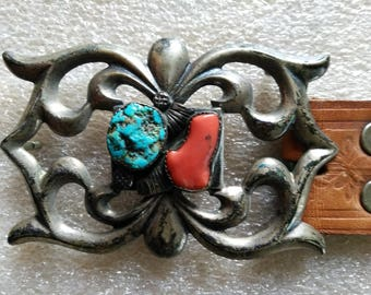 Vintage Navajo Sterling Silver Turquoise & Coral Sandcast Belt Buckle Signed TB