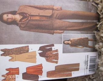 New/Uncut - Simplicity Easy Chic Sewing Pattern 3566 - Jacket, Pants, Bias Skirt, Dress, Top, Womens Coordinates