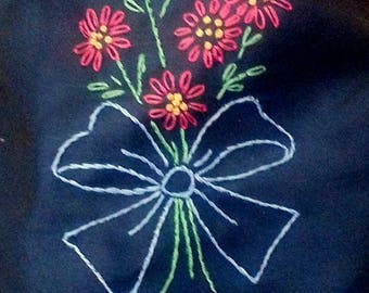 Hand embroidered bandana -pink flowers on charcoal grey- with or without velcro closure- trach stoma covers