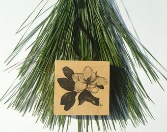 Magnolia Blossom Wood Block Ornament