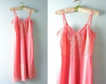 Vintage Pink Lace Slip Dress   1960s Laros Flamingo Pink Slip M