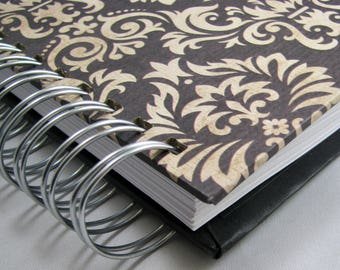 Recipe Book/Recipe Journal/Keepsake Recipes/Family Recipe Book/ Bridal Shower Guestbook/ Wedding Gift/Foodie Gift/Cooking/Brown Damask