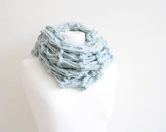 Turquois knitted infinity scarf