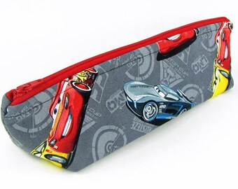 Cars, pencil case, Back to school supply, zippered pouch, triangle pencil case, pencil case for kids,makeup bag, toiletry bag