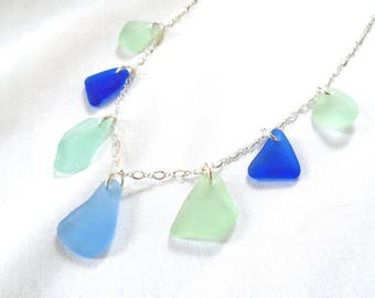 "Authentic Sea Glass Multi Necklace on 18"" Sterling Silver Chain, Rare Cobalt Blue, Cornflower Blue and Seafoam"