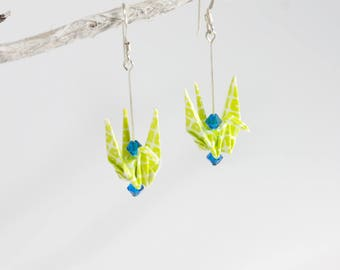 Green Origami Crane Earrings, Crane Earrings, Origami Earrings, Origami Bird Earrings, Origami Jewelry, Fashion Earrings
